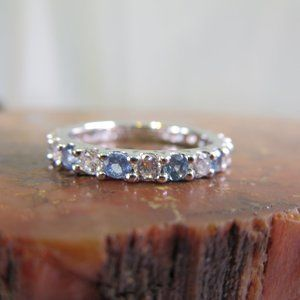 Sterling Silver Blue CZ Eternity Band Ring